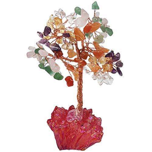 Loveliome Multi Charka Crystal Tree, Red Titanium Crystal Base Feng Shui Bonsai for Money Wealth Good Luck Reiki Healing Balancing Decor