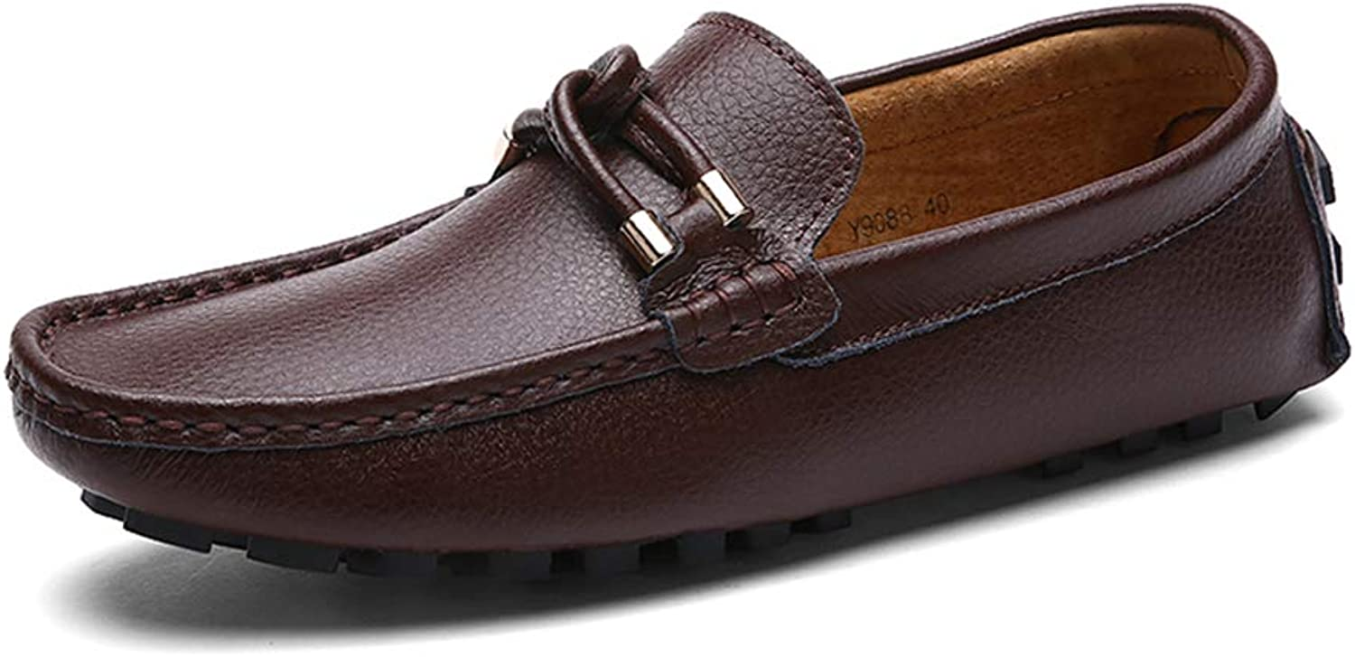 XSY2 Men's Comfort Loafers Leather Spring Summer Comfort Loafers & Slip-Ons Dark bluee White Black Red Brown,B,42