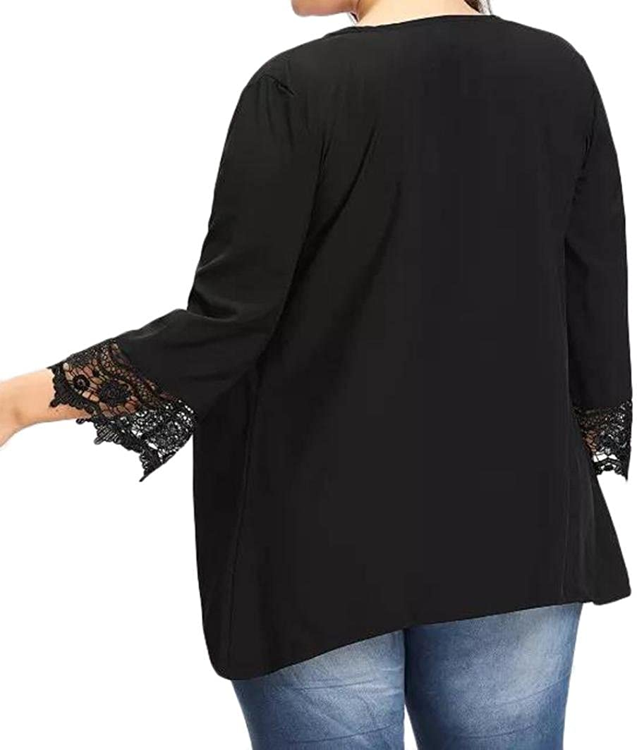 Women's Plus Size Lace Open Front Loose Causal Lightweight Kimono Cardigan