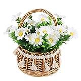 NAHUAA Flores Artificiales con Maceta Margarita Artificial Flores de Seda para Hogar Oficina Decoración Jardín Baño...
