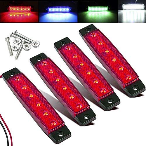 Electrely LED-Indikator Seitenmarkierungsleuchten vorne hintere Seite Lampe Position12V für Anhänger,LKW,Wohnwage,Wohnmobile,Van,LKW,Bus, Boot,Traktor (rot)