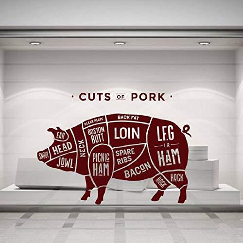XCJX Carniceros Cortes de Cerdo Pegatinas de Pared Carne de Cerdo Supermercado Fresco Vinilo Removible Tatuajes de Cerdo Mural Color Único 57x78 cm