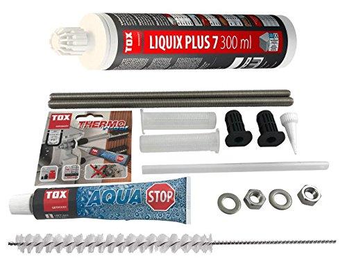 TOX Schwerlast Befestigungsset Abstandsmontagesystem Thermo Proof Plus 2 x M12 A4 mit mit Aqua-Stop + Verbundmörtel Liquix Plus 7 + Zylinderbürste