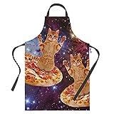tablier de cuisine humoristique pour homme et femme – pizza space chats