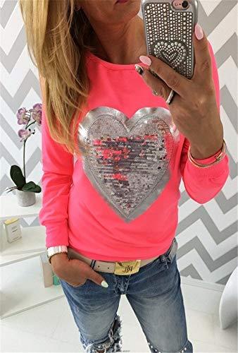 YDMZMS Dames-sweatshirt, met pailletten, lange mouwen, hart, pullovers, joggingpak, maat XL, rood.