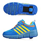 JUNJUN Zapatos con Ruedas Zapatos para Niños con Luces Vibración De Una Sola Rueda Led De Moda Deportes De Ocio(Size:37EU,Color:Azul)