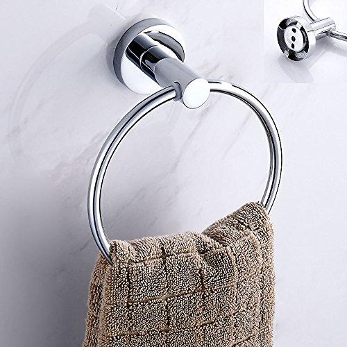 ZhongYeYuanDianZiKeJi Toallero Anillo Baño Acero Inoxidable Redondo Cromo plateado Soporte de pared para Cocina Cuarto de bañ (Redondo)
