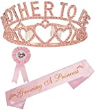 Baby Shower Decoration for Girl, Mother to Be Tiara Crown Pink, Baby Shower for Girl, Growing A Princess Sash, Dad to Be Pin, Pink Baby Shower Party Favors Decorations Gift, Mother to be Sash