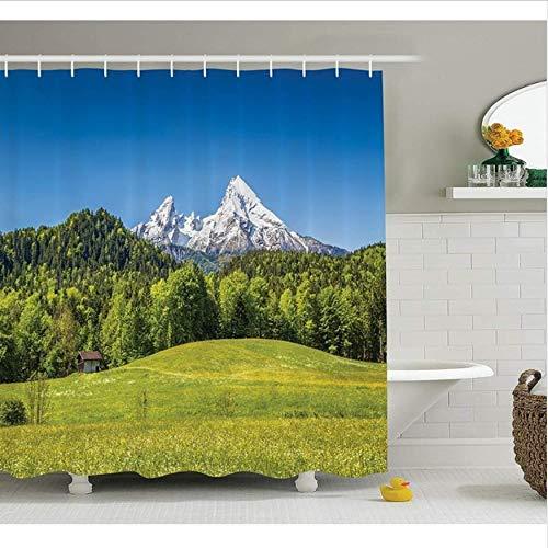 HHYSPA Duschvorhang Set Room Decor Bayerische Alpen Mit Dorf Berchtesgaden Und Watzmann Massiv Nationalpark Deutschland Mit Haken 71X78.7 Inch