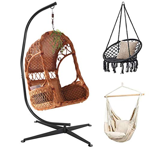 Premium Hammock Chair Stand, Extra Sturdy Solid Metal C-Stand 330LBs Capacity for Hanging Hammock Chair Porch Swing, Indoor Outdoor Living Room Bedroom Balcony Beach