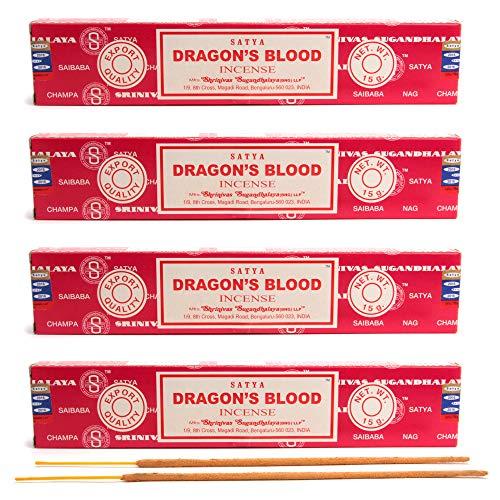 aqasha Satya Dragon´s Blood | 48 Sticks | 20 cm | Brenndauer 45 min. | Räucher-Stäbchen-Set | Drachen-Blut & Masala Indische Gewürz-Mischung | Incense