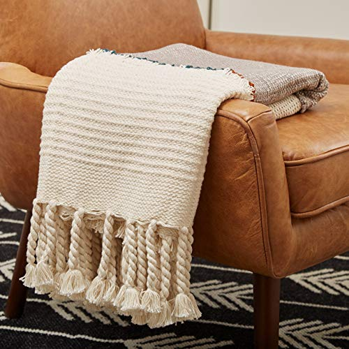 Couch Throw Blanket with Tassels