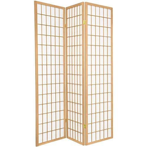 Legacy Decor - Biombo de estilo oriental japonés para habitación, 3 paneles, color natural