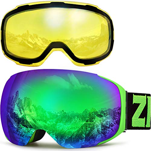 ZIONOR X3 Ski Snowboard Snow Goggles with Magnet Lens Anti-Fog UV Protection Spherial Design for Men Women Adult (Green+YellowLens)