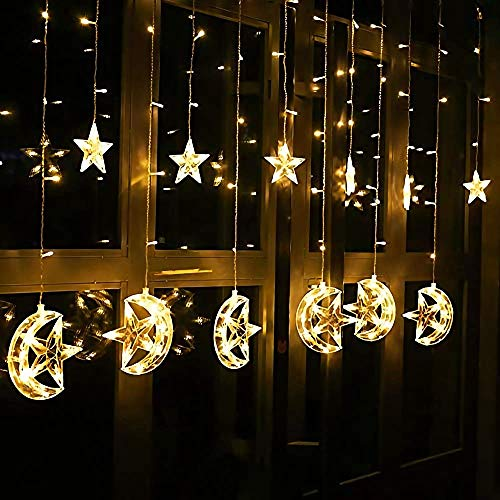 Cadena de luces Cortina LED, 2.5m x 1m Estrellas Blanco Cá