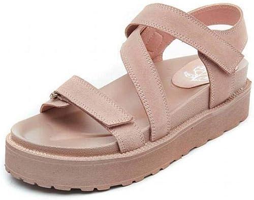 TFTORY Wild College cuir - Sandales à Talons pour Femmes - Plateforme - Sandales Plates à Semelles épaisses - Sandales étudiantes, rose, 39