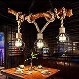 Vintage Holz Kronleuchter Industrie 3 Lichter DIY Seil Kronleuchter Metall Draht Käfig Lampe Loft Rustikale Deckenleuchte Innen Retro Beleuchtung
