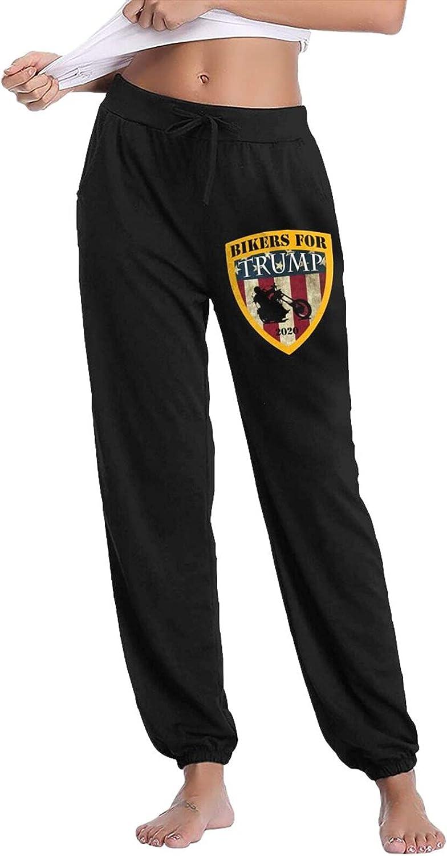 Pkaixin Bikers for Trump 2020 Women's Cotton Long Pants with Pockets Workout Casual Sweatpants Drawstring Waist Jogger