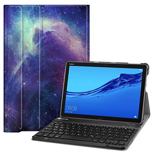 Fintie Tastatur Hülle für Huawei MediaPad M5 Lite 10.1 Zoll - Ultradünn leicht Schutzhülle Keyboard Case mit magnetisch Abnehmbarer Bluetooth Tastatur mit QWERTZ Layout, Die Galaxie