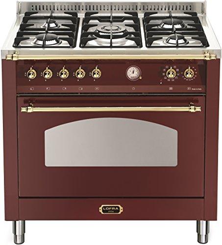 Lofra RRG96MFTE/CI Küche, freistehend, Bordeaux, Edelstahl, drehbar, mit Gaskochfeld, mittelgroß