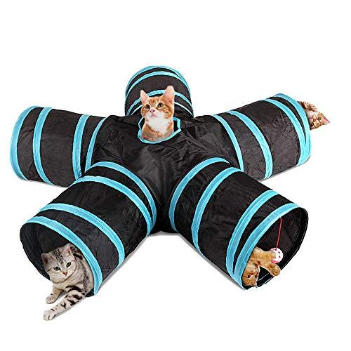Túnel De 5 Vías para Gatos, Tamaño Grande, para Interior Y Exterior, Plegable para Mascotas, Juguete Gato Interactivo con Bolsa De Almacenamiento para Gato, Perro, Cachorro, Gatito, Conejo
