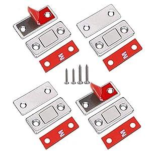 Pestillo magnético para puerta de armario, 8 unidades, ultrafino, con cierre magnético, para puerta de armario, balconera, puerta corredera
