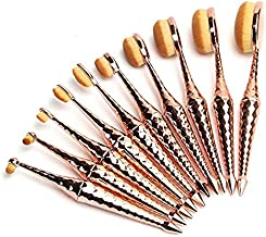 Micup Diamond Shape 10pcs Oval Makeup Brush Set Foundation Contour Concealer Blending Cosmetic Brushes