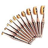Micup Diamond Shape 10pcs Oval Makeup Brush Set Foundation Contour Concealer Blending Cosmetic...