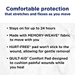 Johnson & Johnson Band-Aid Brand Flexible Fabric Adhesive Bandages for Wound Care and First Aid, All One Size, 100 Count… 14 100-count Band-Aid Brand Flexible Fabric Adhesive Bandages for first aid and wound protection of minor wounds, cuts, scrapes and burns Made with Memory-Weave fabric for comfort and flexibility, these bandages stretch, bend, and flex with your skin as you move, and include a Quilt-Aid comfort pad designed to cushion painful wounds which may help prevent reinjury These Band-Aid Brand Flexible Fabric adhesive bandages stay on for up to 24 hours and feature a unique Hurt-Free Pad that won't stick to the wound as they wick away blood and fluids, allowing for gentle removal