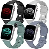 4 Pack Sport Band Compatible with Apple Watch Band 38mm 40mm 42mm 44mm for Women Men, Soft Silicone Strap Replacement Wristband for iwatch Series SE/6/5/4/3/2/1
