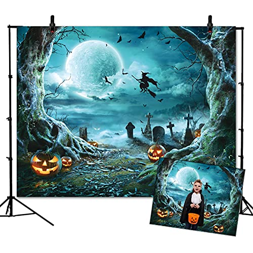WOEIEOW Halloween Backdrop, Halloween Party Decoration Photography Backdrop, 7X5FT Full Moon Night Scary Pumpkin Photo Backdrop for Adults, Kids, Family DIY Photography (Blue)