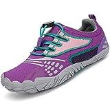 SAGUARO Zapatillas de Trail Niñas Calzado Descalzos Niños Zapatillas de Deporte Fitness Correr en Asfalto Transpirables Minimalistas Barefoot Zapatos Senderismo Antideslizantes Exterior Morado A 25 EU