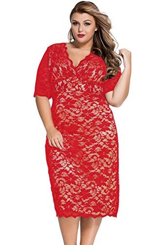 LETSDO Frauen Spitzenkleid Plus Size Club Midi Kleider (XXL, Rot)