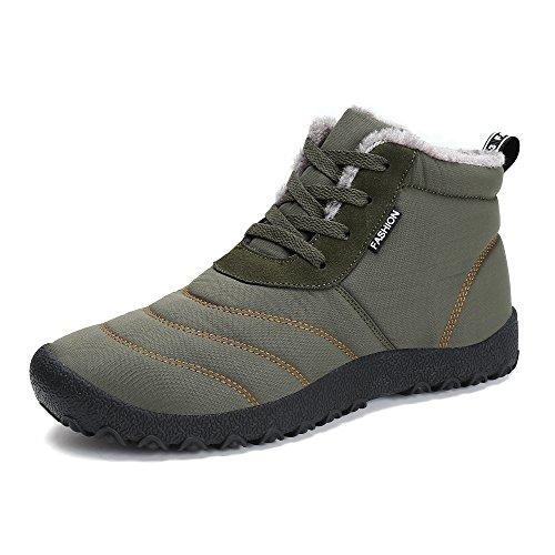 Femmes Hommes Bottes Courtes,Popoti Bottes de Neige Unisexes Bottines de Cheville Doublées D 'Hiver Chaudes Plates Antidérapantes Bottines Chaussures Outdoor (Vert, 43)