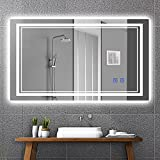 Ruinnykai LED Bathroom Wall-Mounted Mirror Anti-Fog Makeup Mirror with Dimmable Light and Touch Button(Horizontal/Vertical) (40 x 24 Inch)