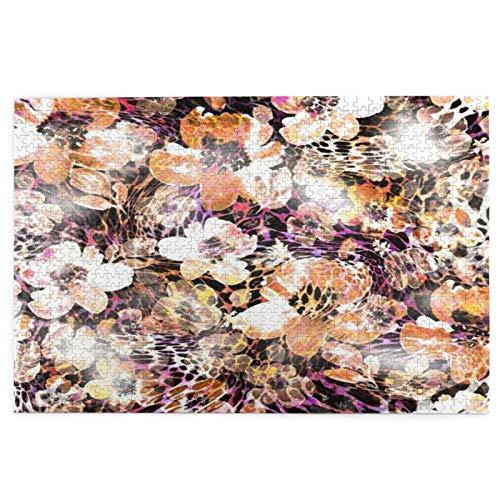 rompecabezas 1000 piezas para adultos África Leopardo Flor Textura Patrón Resumen Serpiente Animal Cheetah Primer plano Cocodrilo Floral Puzzle Para Niños Niñas Mayores Regalos