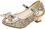 Liqiqi - Zapatos de princesa para niña, bailarinas elegantes con lentejuelas - Antideslizantes - Ideal para salones de baile Rosa Size: 29 EU