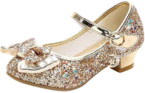 Liqiqi - Zapatos de princesa para niña, bailarinas elegantes con lentejuelas - Antideslizantes - Ideal para salones de baile