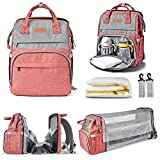 Diaper Bag Backpack Multi-Function Waterproof Travel Backpack Nappy Bags for Baby Care,Diaper Bag with Foldable Baby Bed and USB Large Capacity, Stylish and Durable-Powder Gray