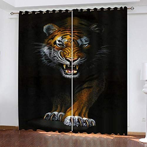AnvvsovsPrinted Blackout Curtains 3D Ferocious Animal Tiger Living Room Office Bedroom 2 Panels In Total Suitable For Bedroom Living Room Dining Room Nursery Etc. (W) 150X(H) 166Cm -Curtain Decorati