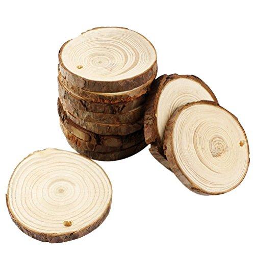 ROSENICE DIY Lot de 30 rondelles en bois rondes avec trous pour la décoration, peinture à un diamètre de 8 à 9 cm avec corde chanvre de 10 m