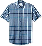 Amazon Essentials Men's Regular-Fit Short-Sleeve Plaid Casual Poplin Shirt, Denim, X-Large
