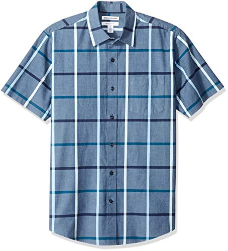 Amazon Essentials Men's Regular-Fit Short-Sleeve Plaid Casual Poplin Shirt, Denim, Large