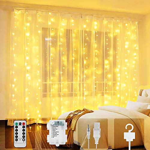 Tenda Luci LED, 300 LEDs Tenda luminosa 3m Natale Tenda Luci,Tenda luminosa Luci Cascata Impermeabile 8 Modalità Dimmerabile per Decorare Interni e Esterni Salotto Natale Matrimonio