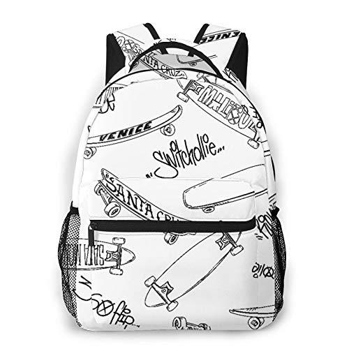 LUDOAN Zaino per laptop da viaggio,skateboard per cartoni animati e scritta graffiti Trick,Skate,Business Water Resistant Antifurto Daypack Slim Durevole