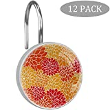 rodde Rot-orange Chrysanthemen-Blumenmuster Duschvorhang Haken, große Vorhanghaken aus Harz, Glas, Edelstahl, 12er-Set Haken