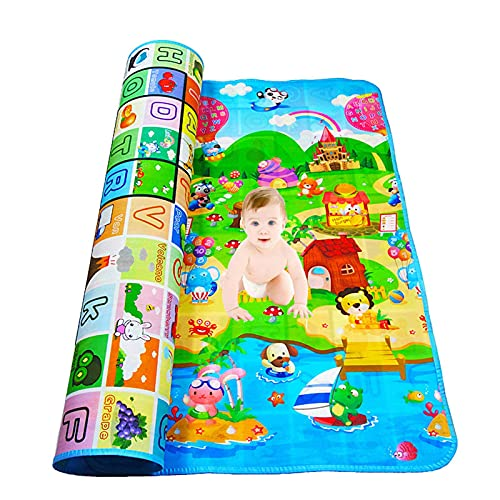 N\C Double-Sided Baby Crawling Mat, Children's Baby Play Mat, Foldable Moisture-Proof and Waterproof Foam Pad