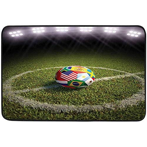 YUAZHOQI Sports Decor Collection Door mats, A Soccer Ball on a Soccer Field Printed Flags of The Participating Countries Image, W19.7 x L31.5 Inch Resist Dirt Rugs for Entrance, Green White Red