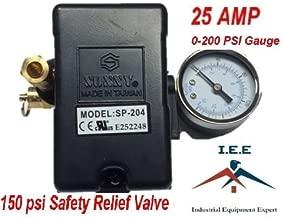 25 AMP Air Compressor Pressure Switch 4 Port 95-125 PSI w/ Side Mount 0-200 PSI Gauge 150 PSI pop off valve