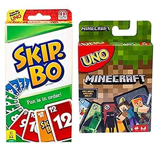 Mattel Games SKIP-BO Card Game AND UNO Minecraft Card Game